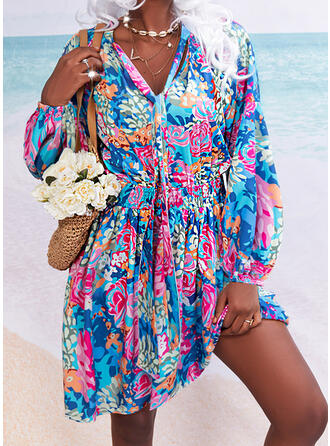 Print/Floral Long Sleeves Lantern Sleeve A-line Above Knee Casual/Vacation Skater Dresses