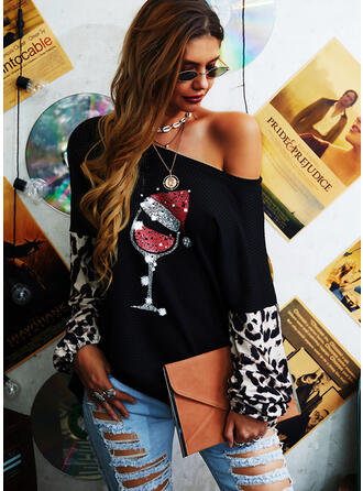 Sequins Leopard One-Shoulder Long Sleeves Casual Christmas Knit Blouses