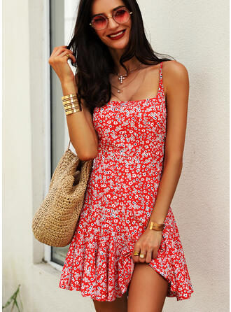 Print/Floral Sleeveless A-line Above Knee Sexy/Casual Slip/Skater Dresses