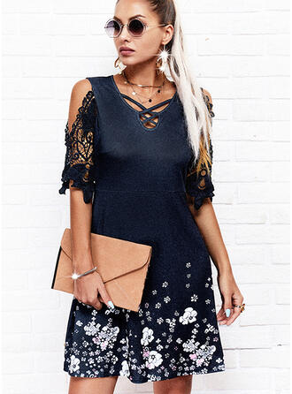 Lace/Print/Floral 1/2 Sleeves A-line Above Knee Casual Skater Dresses