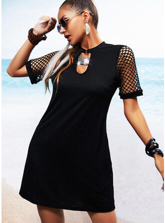 Solid/Mesh Short Sleeves Shift Above Knee Little Black/Casual/Vacation Tunic Dresses