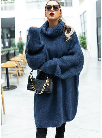 Solid Cable-knit Chunky knit Turtleneck Casual Long Sweaters