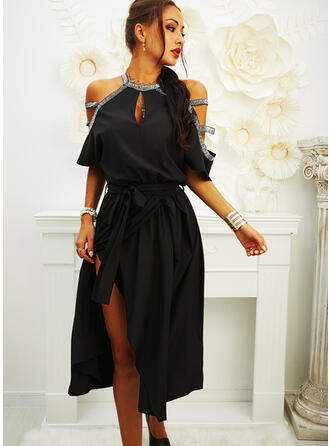 Sequins/Solid Short Sleeves/Cold Shoulder Sleeve A-line Skater Little Black/Party Midi Dresses