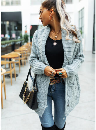 Solid Cable-knit Chunky knit Pocket Casual Long Cardigan
