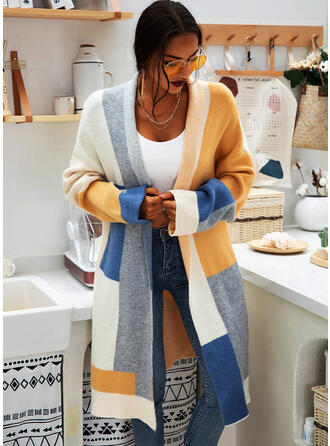 Polyester Manches longues Couleurs Opposées Gros tricot