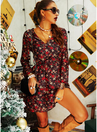 Print/Floral Long Sleeves A-line Above Knee Casual/Elegant Wrap/Skater Dresses