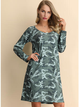 Print Long Sleeves Shift Knee Length Casual/Boho Tunic Dresses