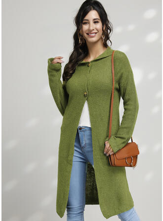 Solid Ribbed Hooded Casual Cardigan