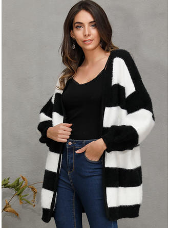 Polyester Manches longues Couleurs Opposées Striped Cardigans