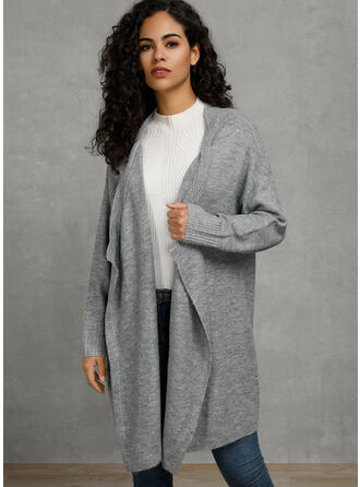 Solid Pocket Collarless Cardigan