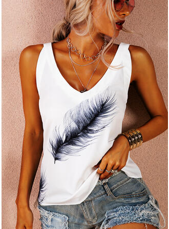 Print Strap Sleeveless Tank Tops