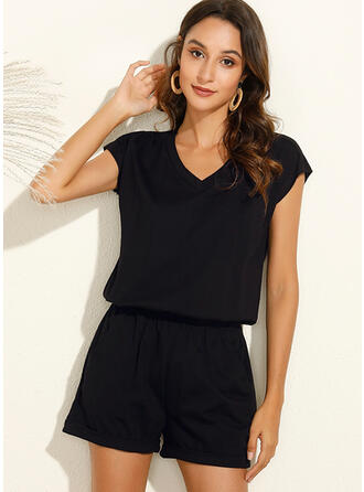 Solid V-Neck Short Sleeves Casual Vacation Romper