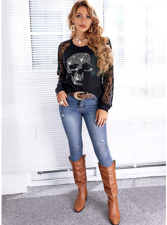 Halloween Print Skull head Lace Round Neck Long Sleeves Casual Blouses