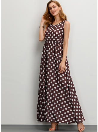 PolkaDot Sleeveless A-line Skater Casual/Vacation Midi Dresses