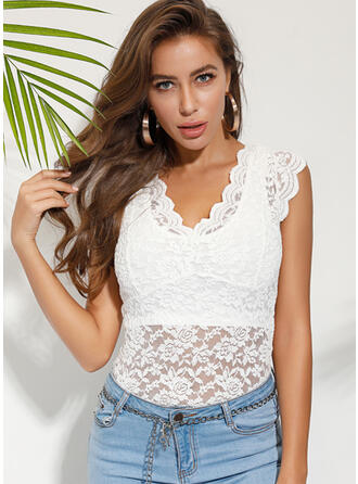 Solid Lace V-Neck Cap Sleeve Casual Tank Tops