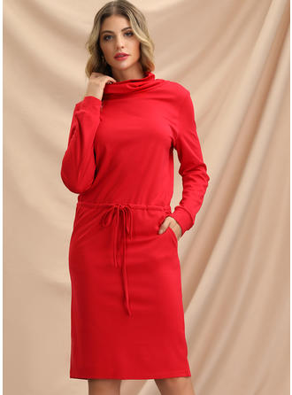 Solid Long Sleeves Bodycon Knee Length Christmas/Casual Sweater Dresses