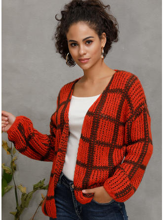 Polyester Long Sleeves Plaid Cardigans