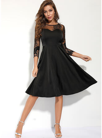 Lace/Solid 3/4 Sleeves A-line Knee Length Little Black/Casual Dresses