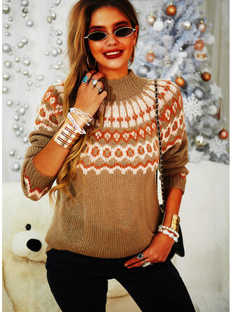 Print Turtleneck Casual Sweaters