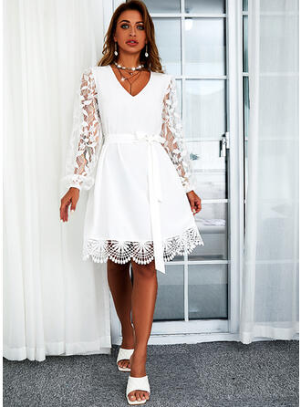 Solid Lace Long Sleeves A-line Above Knee Casual Skater Dresses