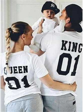 Letter Print Family Matching T-Shirts