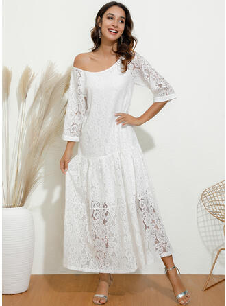 Lace/Solid 3/4 Sleeves Shift Little Black/Casual/Elegant Maxi Dresses