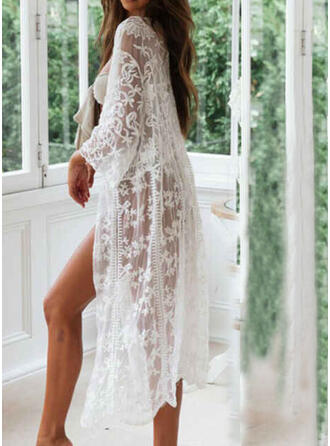 Floral Solid Color Long Sleeve V-Neck Sexy Boho Exquisite Cover-ups Swimsuits