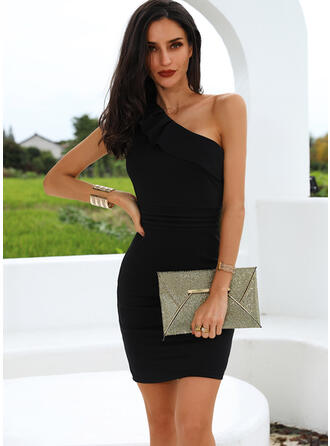 Solid Sleeveless Bodycon Knee Length Little Black/Party Dresses