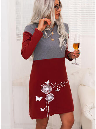 Color Block Animal Print Round Neck Casual Long Sweater Dress