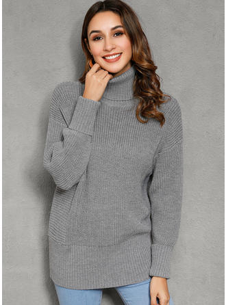 Solid Ribbed Chunky knit Turtleneck Sweaters
