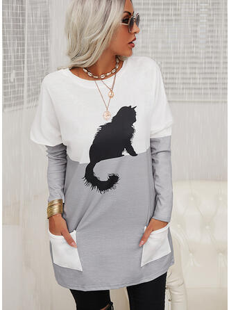 Couleurs Opposées Motif Animal Col rond Manches longues Sweat-shirts