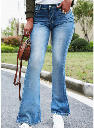Pockets Shirred Elegant Sexy Denim & Jeans