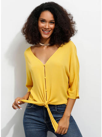 Solid V-Neck 1/2 Sleeves Button Up Casual Elegant Blouses
