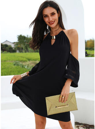 Solid 1/2 Sleeves/Cold Shoulder Sleeve Shift Above Knee Little Black/Casual Tunic Dresses