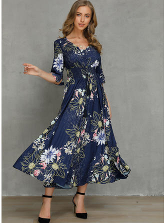 Print/Floral 1/2 Sleeves A-line Casual/Elegant/Vacation Maxi Dresses