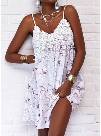 Print/Floral Lace Sleeveless Shift Above Knee Casual Slip Dresses