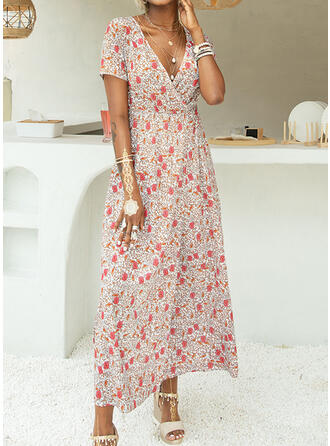 Print/Floral Short Sleeves A-line Casual/Vacation Maxi Dresses
