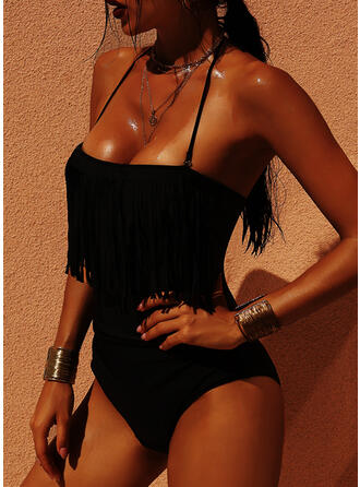Solid Color Bandeau Strapless Attractive Plus Size One-piece Swimsuits