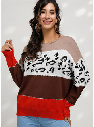 Print Color Block Round Neck Sweaters