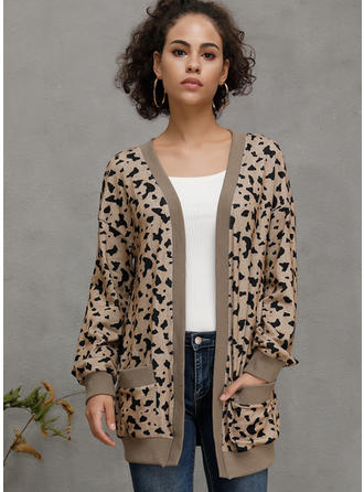 Manches longues Motif Animal Cardigans