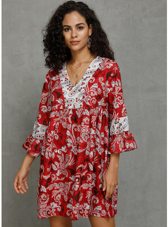 Print 3/4 Sleeves Shift Above Knee Casual/Vacation Dresses