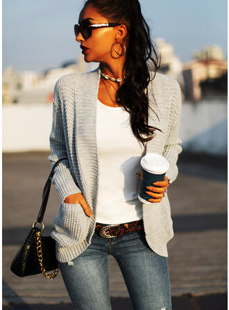 Solid Pocket Casual Cardigan