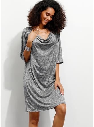 Solid 1/2 Sleeves Shift Above Knee Casual/Party Dresses