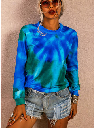 Tie Dye Col Rond Manches Longues T-shirts
