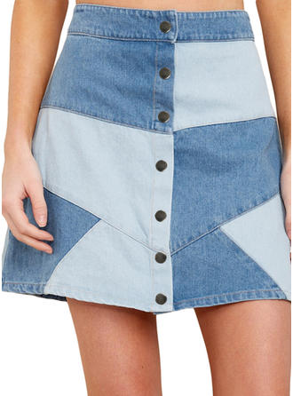 Polyester Color Block Above Knee Demin Skirts