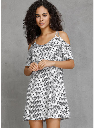 Geometric Print Cold Shoulder Sleeve A-line Above Knee Casual/Boho/Vacation Dresses