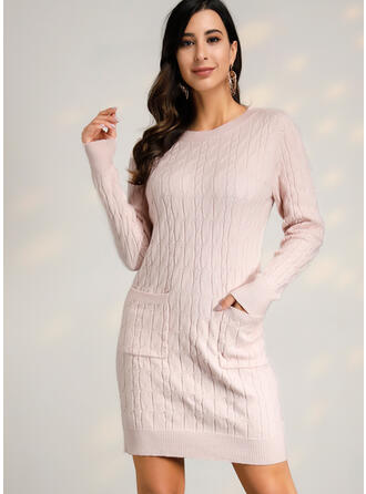 Solid Cable-knit Chunky knit One Shoulder Casual Long Tight Sweaters