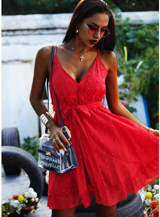 Solid Sleeveless A-line Above Knee Sexy/Party Slip/Skater Dresses