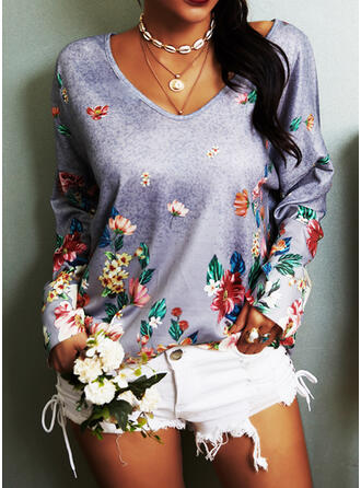 Print Floral V-Neck Long Sleeves Casual Knit T-shirts