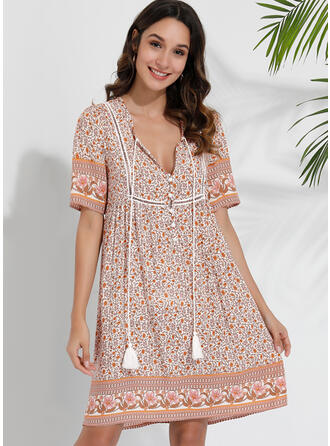 Print/Floral Short Sleeves Shift Knee Length Casual/Boho/Vacation Tunic Dresses